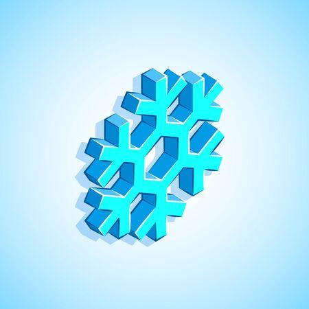 vector colorful design isometric geometric snowflake icon illustration isolated white blue background