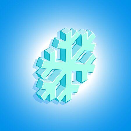 vector colorful design isometric geometric snowflake icon illustration isolated light blue background