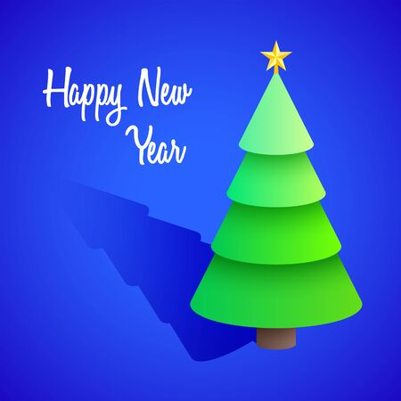 vector realistic isometric post card design happy new year signature christmas tree with star isolated blue background  イラスト・ベクター素材