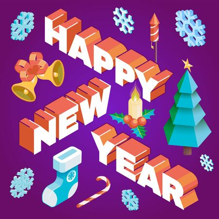 vector realistic isometric low poly post card design happy new year signature with christmas tree candy cane candle holly berry snowflakes gift sock fireworks bells isolated violet background template
