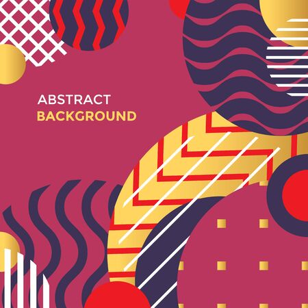 vector red gold colors abstract shapes minimal design poster template decoration modern background layout