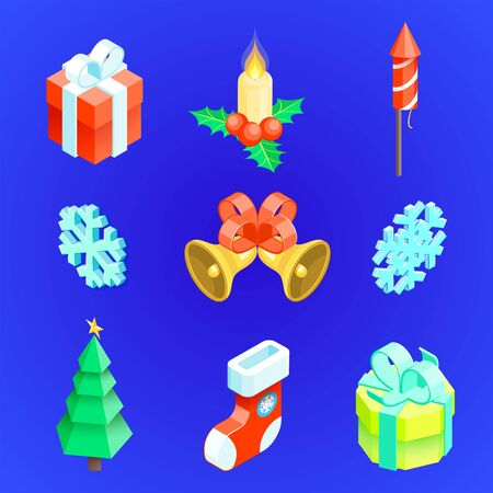 vector realistic isometric low poly christmas tree gift box fireworks bells snowflakes gift sock candle holly berry new year symbols collection