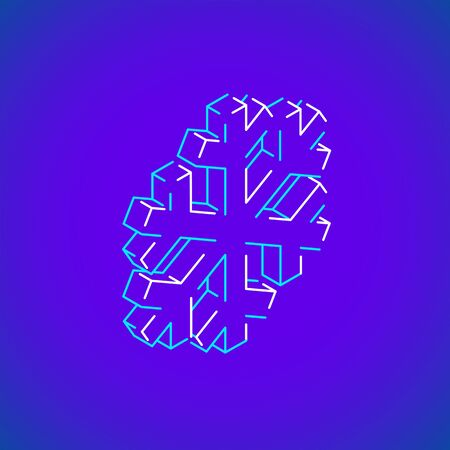 vector outline design isometric geometric snowflake icon illustration isolated violet blue background