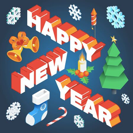 vector realistic isometric low poly post card design happy new year signature with christmas tree candy cane candle holly berry snowflakes gift sock fireworks bells isolated dark background template  イラスト・ベクター素材