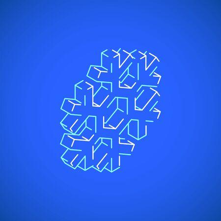 vector outline design isometric geometric snowflake icon illustration isolated blue background