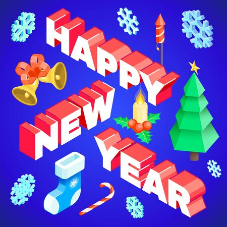 vector realistic isometric low poly post card design happy new year signature with christmas tree candy cane candle holly berry snowflakes gift sock fireworks bells isolated blue background template