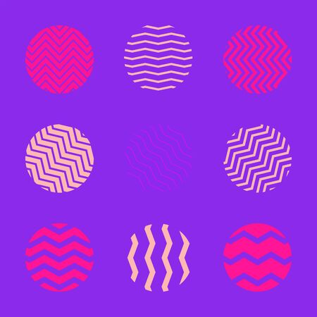 vector line zig zag circle shapes set minimal abstract design decoration elements collection