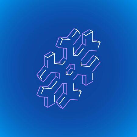 vector outline design isometric geometric snowflake icon illustration isolated dark blue background