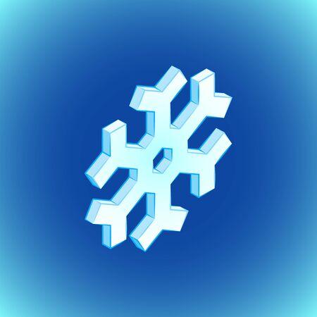 vector colorful design isometric geometric snowflake icon illustration isolated blue background