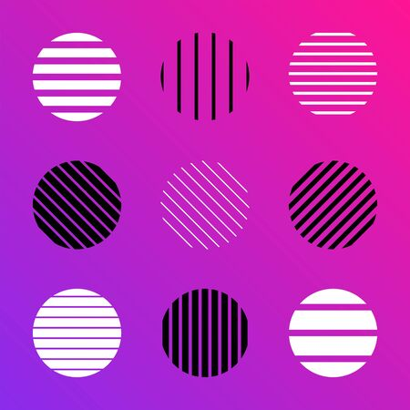 vector line circle shapes set minimal abstract design decoration elements collection