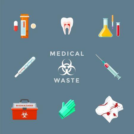 vector drugs pharmacy teeth organs chemicals thermometer syringe used gloves dirty bloody bandages medical waste biohazard management set Vektorgrafik