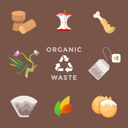 vector cork plug food stubs wilted cut plants used tea bags coffee filters eggshell recycle organic compost waste management set