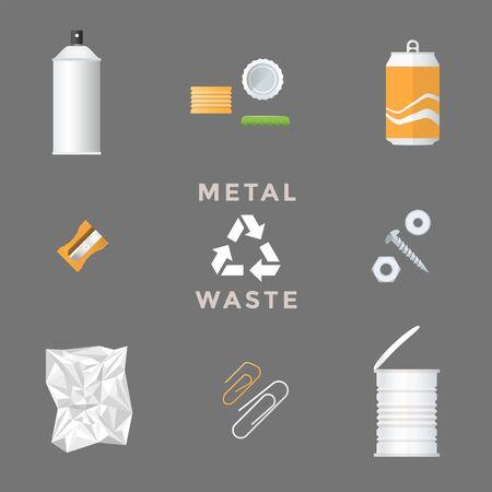 vector aerosol package caps aluminum can sharpener screws nuts foil clip recycle metal waste management set Illustration