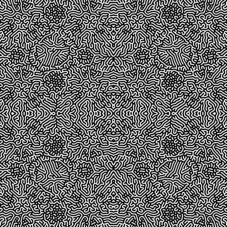 vector black color design Turing morphogenesis reaction diffusion seamless pattern organic ornament white background Illustration