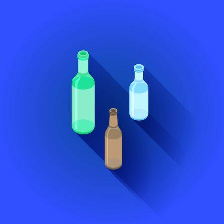 vector isometric design green white brown glass alcohol empty bottles set isolated illustration blue background Stock Illustratie
