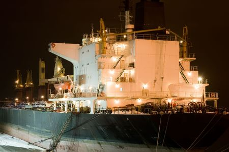 moored: moored cargo ship at a port