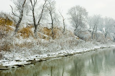 winter Danube river bank landscape
