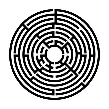 Black and White Circle labyrinth, Maze for kids, Children riddle game, puzzle with an entry and an exit.