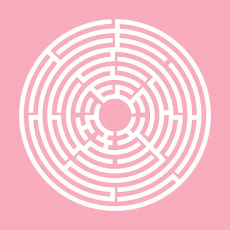 Pink and White Circle labyrinth, Maze for kids, Children riddle game, puzzle with an entry and an exit.