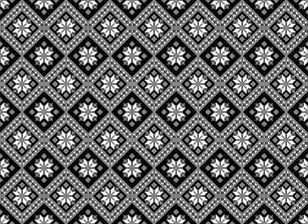 Mosaic tiles, ethnic ornament, embroidery motif, abstract carpet seamless texture pattern vector illustration Illustration