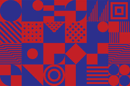 Bauhaus Abstract Geometric Simple Minimal Shapes Pattern Background, For Poster and Banner Design, Vector illustration.