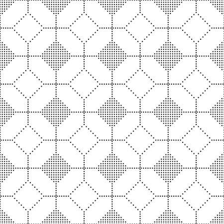 Seamless Black and White Circle Mosaic Pattern, Abstract Geometric Dots Modern Background.