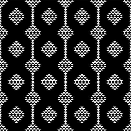 Seamless Black and White Triangles Mosaic Patterns, Abstract Geometric Triangle Background.