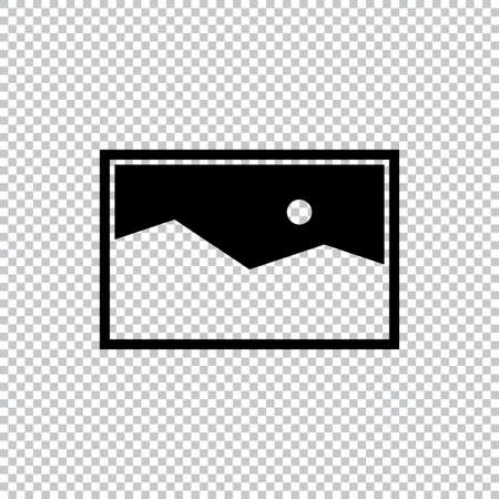 Picture Vector Icon, Black and White Image Element Vector Illustration icon on a transparent background.