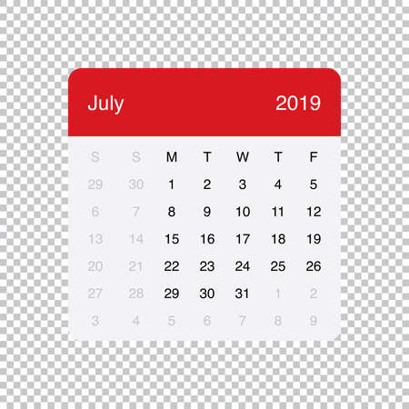 Calendar July 2019 Clean Minimal Table Simple Design. Basic Grid with a light grey background. Week Starts on Monday.
