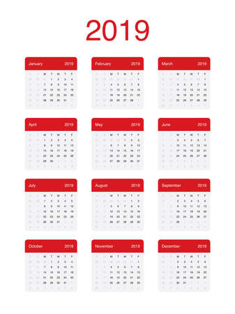 2019 Calendar Clean Minimal Simple Vector Design with a basic grid. Week Starts on Monday.