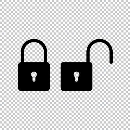 Lock icon flat style isolated on transparent background, Security padlock symbol vector illustration design.
