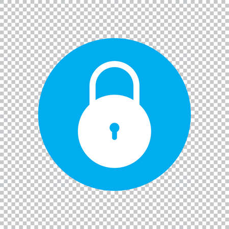 Lock icon flat style isolated on transparent background, Security padlock symbol vector illustration design.