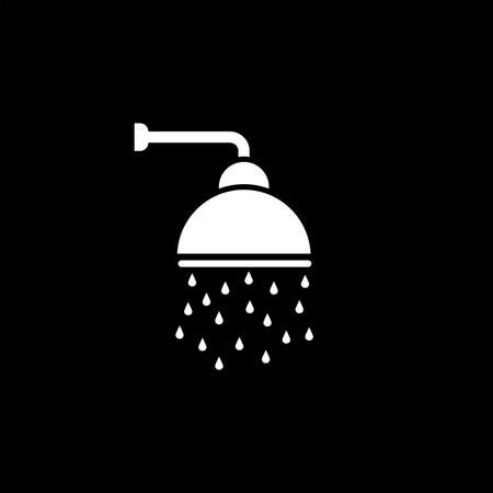 Shower vector icon, Shower faucet flat icon with flowing water drops symbol.  イラスト・ベクター素材