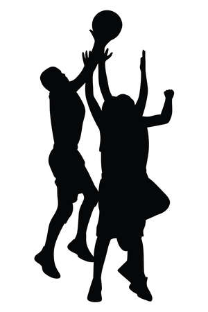 Vector silhouette of athletic basketball players jumping to score a shot in ball game, group of male athletes scoring a ball to win a competition Ilustração
