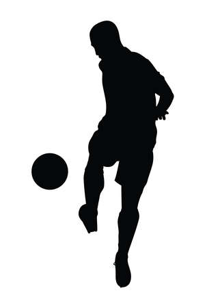 Vector illustration of football player kicking a ball in soccer game competition, silhouette of male athlete training to kick the ball