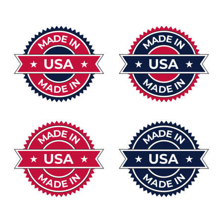Made in USA icon symbol badge emblem vector illustration design with American banner element style ideal for business and product label tag and stamp