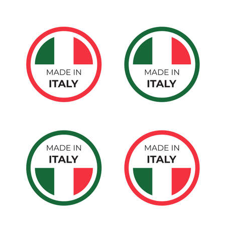 Made in Italy product symbol vector illustration design of italian badge and emblem inspired by concept of red and green national flag