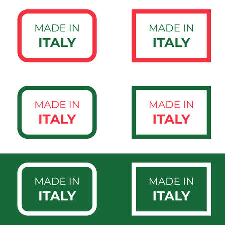 Made in Italy label design vector illustration with red and green text concept based on Italian national flag for product tag and banner