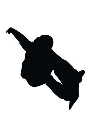 Vector silhouette of male snowboarder on extreme winter sport snowboarding, graphic illustration of a young man on snowboard competition