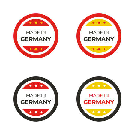 Made in Germany vector design illustration for manufacturing business and product label based on German flag Stock Illustratie