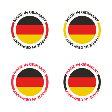 Made in Germany badge vector design for German manufactured product and manufacturing business with red, yellow, black concept