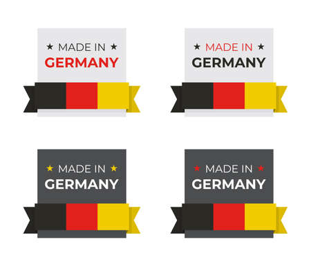 Made in Germany German flag vector illustration design for business and product badge and emblem concept with red yellow black colors Stock Illustratie