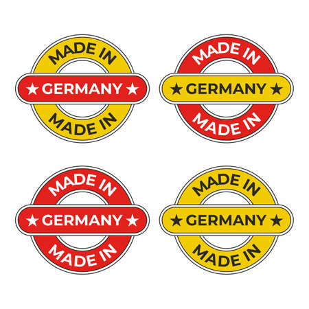 Made in Germany business symbol vector illustration for quality design of product label and badge in red and yellow Stock Illustratie