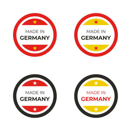 Made in Germany business and product label vector illustration based on design concept of German flag