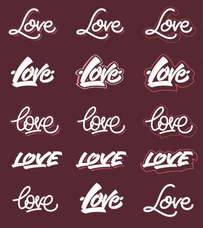 title emotions: Love lettering variants. On down side you can find editable types fully