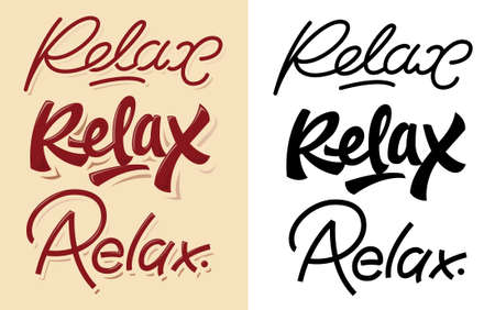right side: Relax lettering variants. On the right side you can find editable varians of types