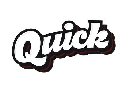 quick: Quick lettering vector sketch logo or logotype with shadow Illustration