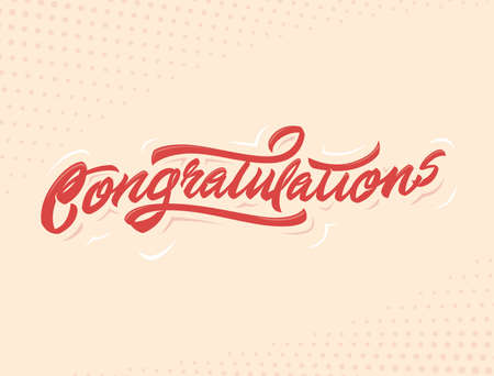 laud: Congratulations Handlettering vector illustration for holiday or another event