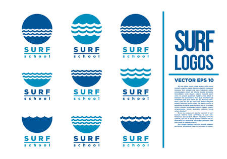 Surf Logo Wave vector logotype illustration blue Stock Illustratie