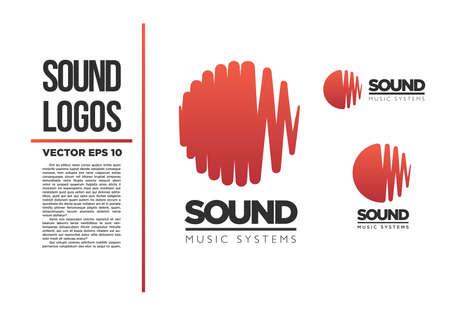 サウンド音楽ロゴ ベクトル ロゴタイプ波抽象